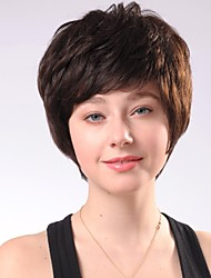 Capless Short Brown Curly  Human Hair Wigs