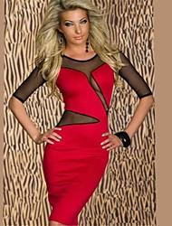 Beauty 2014 New Women Sexy Mesh Insert Midi Long Bodycon Pencil Dress Autumn Casual Dress 9007