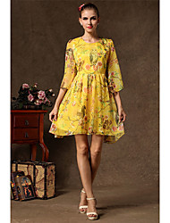 KYY Women's Fashion Floral Print Round Neck Dress