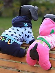 Chat Chien Pulls à capuche Combinaison-pantalon Vêtements pour Chien Mignon Décontracté / Quotidien Etoiles Cœur Bleu Rose