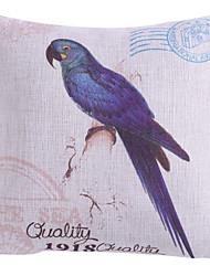 twopages® padrão azul papagaio capa de travesseiro de poliéster