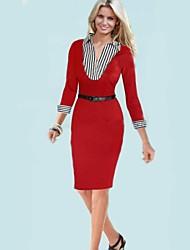 patrón de cuello del vestido sólido simulacro de las mujeres xinyuange® color con cinturón