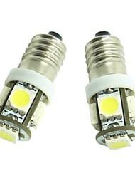 e10 2pcs 1s 5x5050smd 70-90lm 6500-7500k lumière blanche chaude pour lampe de porte de voiture (dc12-16v)