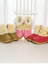 Girl's Spring / Fall / Winter Comfort / Snow Boots Faux Suede Casual Low Heel Brown / Pink / Red