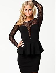 Beauty Women Lace Insert Peplum Dress OL Elegant Work Wear Bodycon Long Sleeve Autumn Winter Dress 9036