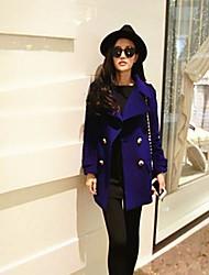 женская лацкане длинный рукав кашемировые пальто