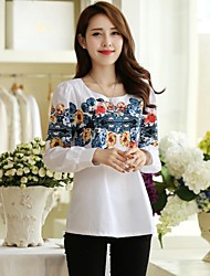 Women's Floral White Blouse , Round Neck Long Sleeve