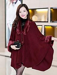 fashion faux casaco de gola de pele capa ts feminino