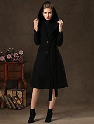 Incern®Women's Slim Long Woolen Hoodie OverCoat