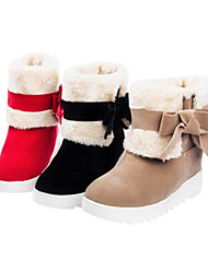 Women's Shoes Round Toe Wedge Heel Mid-Calf Boots with bowknot