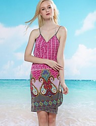 Women's Sexy Cashew Print Halter Wrap Beach Cover-Up Dress