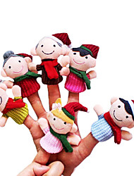 6PCS Christmas Small-sized Family Plush Finger Puppets Kids Talk Prop