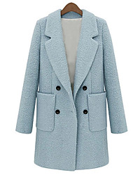 Women's Solid Color Blue / White Coats & Jackets , Casual / Work Pan Collar Long Sleeve