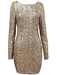 Women's Party/Cocktail Sexy Dress Mini Long Sleeve Black / Gold Others Spring / Summer / Fall / Winter