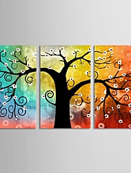 Canvas Set of 3 Botanical Colorful Hopeful Life Tree Stretched Canvas Print Ready to Hang