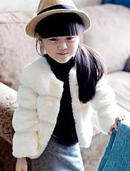 outono ou inverno imitação quente casacos de pele da menina