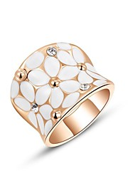 Gift Classic Genuine Austrian Crystals 18K Rose/White Gold Plated White Flower Party Ring