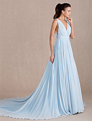 Formal Evening Dress - Sky Blue Plus Sizes A-line V-neck Sweep/Brush Train Georgette