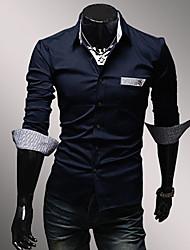 WSGYJ Men's Check Pattern Lining Splicing Shirt