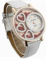 YUKO ladies heart-shaped diamond color leather strap watch