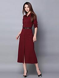Women's Shirt Collar Single Breasted Midi Dress