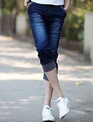 Men's Fashion Solid Color Bind Slim Cotton 3/4 Length Casual Pants