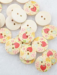 Drawing Heart Scrapbook Scraft Sewing DIY Wooden Buttons(10 PCS)