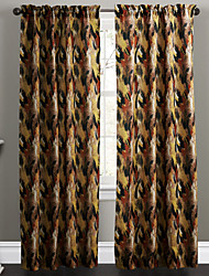 Two Panels Contemporary Ink Painting Warm Colors Abstract Embellishment Curtains Drapes