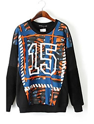 Skymoto®Women's O-neck Print Arabic Number Sweatshirt
