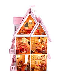 поделки миниатюрный солнечный свет Алиса кукольный домик вилла с мебелью и огни игрушки