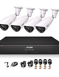 zosi® 800tvl 70m 4ch kits de dvr h.264 960H de vision nocturne 4x cmos ir système de caméra de sécurité de télévision en circuit fermé extérieure de