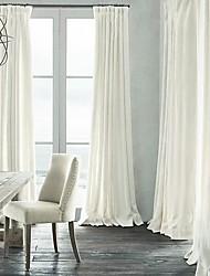 sala de oscurecimiento de lino natural cortina blanca (dos paneles)