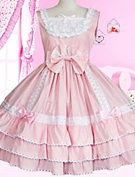 Sweet Lady Sleeveless Knee-length Pink Cotton School Lolita Dress