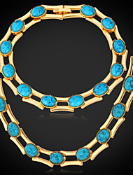 New High Quality Turquoise Stone Necklace Bracelet Set 18K Gold Platinum Plated Jewelry Gift for Women