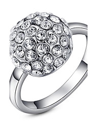 Classic Small Pieces Simulated Diamond Ball Austrian Crystals Rose/White Gold Plated Finger Ring