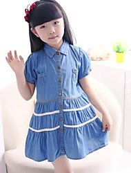 Girl's Solid Dress,Cotton / Cotton Blend Summer Blue