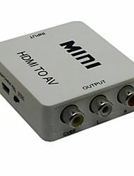 hdmi a rca av / CVBS convertidor adaptador compuesto para PC / PS3 / VCR / DVD PAL / NTSC