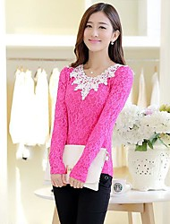 TS Women's Fashion Simplicity Contrast Color Lace Sim T-shirt