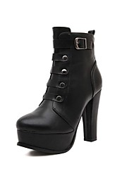 Women's Shoes Round Toe Chunky Heel Ankle Boots with Zipper and Buckle