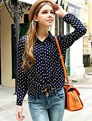 CoCo Zhang Women's Lapel Neck Chiffon Long Sleeve Blouse