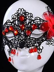Fashion Red Gem Lace Wedding Party Mask