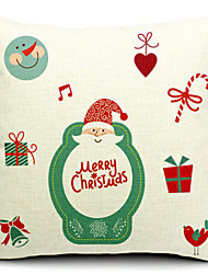Merry Christmas Character Father Christmas Cotton/Linen Decorative Pillow Cover