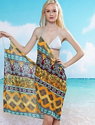 Women's Sexy Ethnic Print Halter Wrap Beach Cover-Up Dress