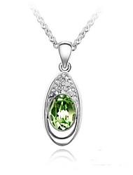 Dream into Popular Truth Short Necklace Plated with 18K True Platinum Peridot Crystallized Austrian Crystal Rhinestone