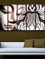 Stretched Canvas Art Buddha Decorative Painting  Set of 5
