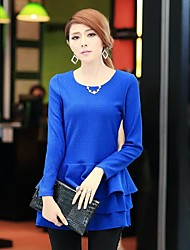 Women's Solid Blue Blouse , Round Neck Long Sleeve Ruffle/Layered
