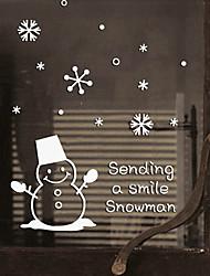 "Merry Christmas Lovely Smiling Snowman Window Sticker (9.48""W × 11.16""L)"