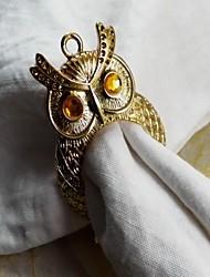 anillo de oro del búho de plata servilleta, hierro, 3.5cm, conjunto de 12