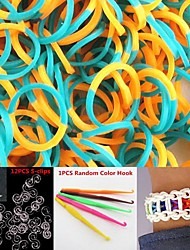 600PCS Orange&Light Blue 2-Segment DIY Twistz Silicone Rubber Bands for Rainbow Loom Bracelets with Hook&S-clips
