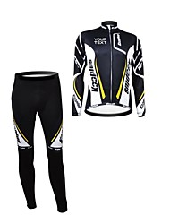 KOOPLUS Unisex Spring Autumn Customized Cycling Clothing Long Sleeve Jersey Pants Polyester Cycling Suit-Black+White